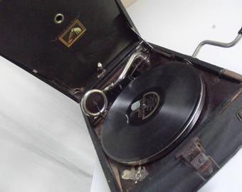 Antique French Gramophone, Phonograph, Portable Talking Machine, Hand Crank Phonograph, Record Player, Turntable, Gramophone,