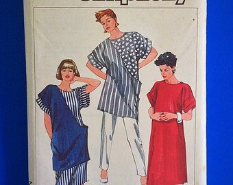 "80s Maternity Dress, Top, Tunic, Pants , UNCUT, F/F, Size 10-12-14, Bust 33 1/2"" to 36"", Simplicity 7340."