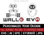 Wall-e & Eve - Digital Download - SVG AI EPS Studio3 jpg - Personalize Your Name!
