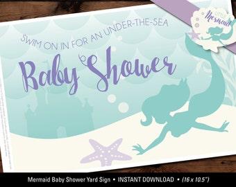 Little Mermaid Baby Shower Yard Sign, Mermaid Yard Sign, Mermaid Baby Shower Printables