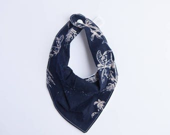 Bandana Bib -  Navy Palm Trees