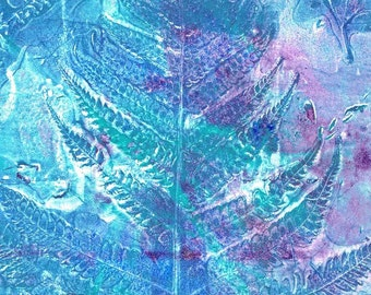 turquoise fern print