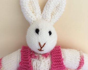 Knitted Girls White Bunny.  Australian made Toy.
