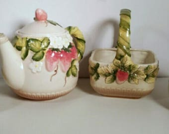 Vintage Hand Painted Takahashi San Francisco Ceramic Strawberry Tea Pot Set