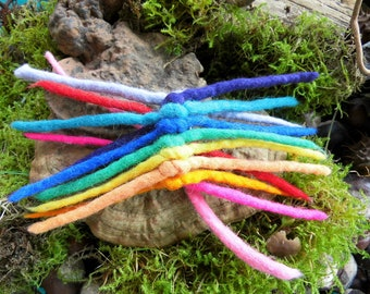"Elf game, ""Rainbow"" hair, braid rubber, felt, hair jewelry, Waldorf, hippie"