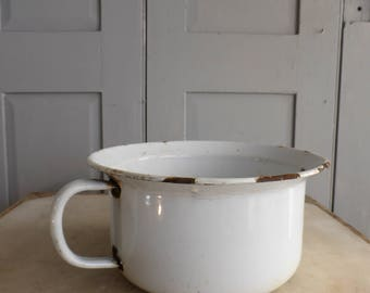 Antique vintage white enamel potty plant pot