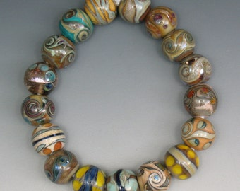 17 Handmade lampwork dichroic & silvered glass multi-color round beads by SJC Lampwork