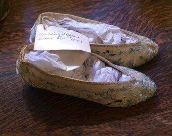 Fabulous Antique Victorian Chinese Silk Embroidered Wedding Slippers with Birds & Butterflies Worn in 1856 California Gold Rush