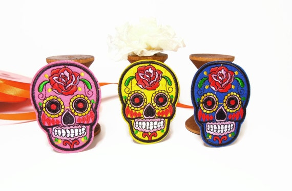 Mexican Sugar Skull Iron-on Patches. Dia de los by ...