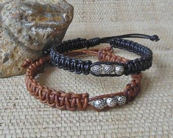 Golf Ball Bracelet: Black or Brown/Men's Woven Leather Bracelet/Masculine Bracelet/Men's Golfer Gift/3rd Anniversary for Him/Adjustable