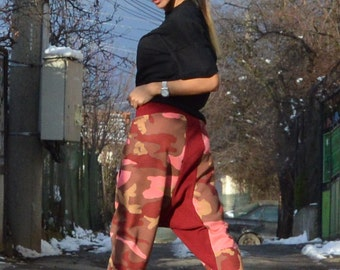 Women Harem Pants, Loose Casual Drop Crotch Pants, Warm Extravagant Pants, Side Zipper Pockets by SSDfashion