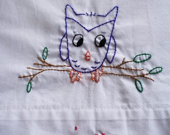 Personalized Hand Embroidered Owl standard Pillow Case