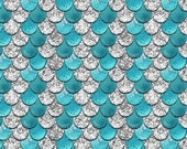 Blue Scales Bamboo Spandex Knit, Dragon Fabric, Dragon Scales, Fish Scale Fabric, Scale Fabric, Dinosaur Fabric, Childrens Fabric, Fabric