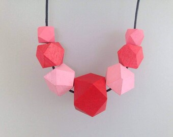 Wooden geometric necklace | Hand painted