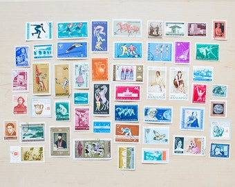 50 Bulgaria Postage Stamps Cancelled Used Skiing Wedding Circus Architecture Costume Journalling Collage Scrapbooking Philately Ceramics
