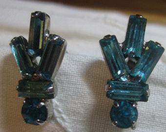 Jay Flex Sterling Blue Rhinestone Screw Back Earrings