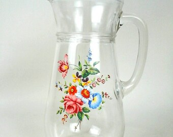 Rosie Posie - vintage glass jug / pitcher with floral motif
