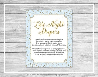 Blue and Gold Baby Shower Late Night Diapers Sign - Printable Baby Shower Late Night Diapers - Blue and Gold Confetti Baby Shower - SP146