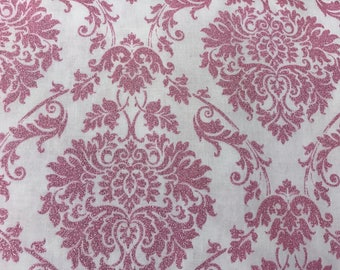 Pink and white damask shimmer curtain  window valance
