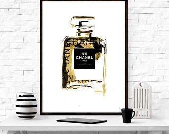 Coco Chanel Bottle - Chanel print , gift idea , home decor, Coco Chanel Fashion Print, gift idea,