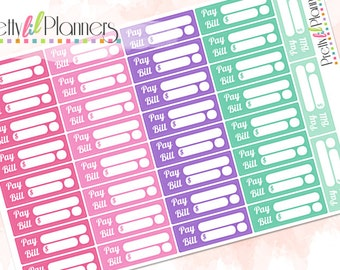Pay Bill Planner Stickers Pinks-Purple-Greens, Budget Stickers, Pay Bill Stickers, Bill Due Stickers, Perfect for Erin Condren Planner
