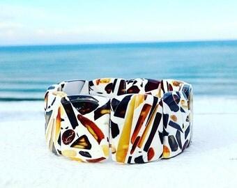 Amber Beaded Bracelet, Amber Bracelet, Mosaic Amber, Stretchy Bracelet, Baltic Amber Jewelry