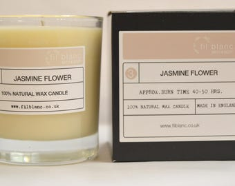 Jasmine Flower / 100% Natural Wax Candle / Vegan Friendly / Paraffin Free / Made in UK