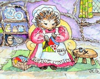 Sewing Patchwork.ACEO mounted print from an original watercolour.