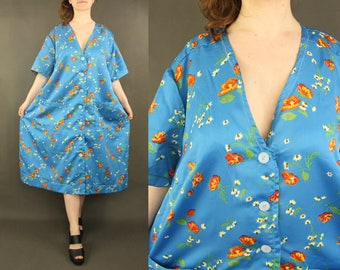 XL / XXL v neck dress - vintage dresses, blue, plus size 1980s 80s