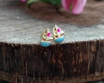 Dainty Sailboat Earrings Minimalist Beach Studs Nautical Fashion Jewelry