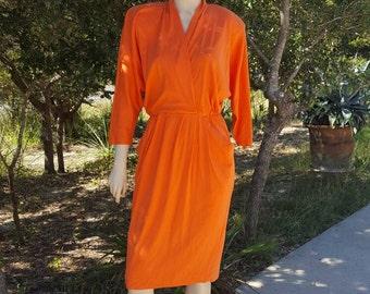 Orange Jersey Dress with Shoulder Pads 80's
