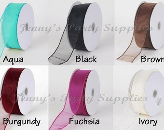 10 yards Sheer Organza Wired Ribbon, Many Colors Available Wired Organza Ribbon 1.5 inches wide