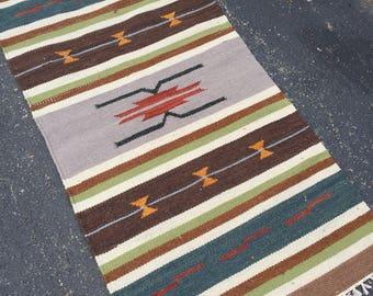 Native American Rug with Geometric Pattern in Dark Umber 2.3 x 4.6