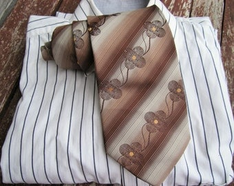 Brown and flower diagonal striped tie, Neck Tie Vintage neckties, Ties, Neckties, Mens Necktie, Vintage Tie, Vintage necktie, Free Shipping
