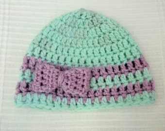 Baby Stripes and Bows Beanie
