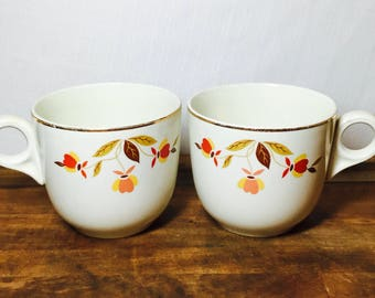 Hall Jewel Tea Autumn Leaf Coffee Cups with Gold Inlay