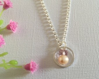 rondelle glass necklace and fresh water pea necklace, Sister or Mother necklace