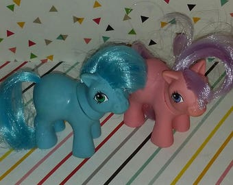 Vintage Lot of 2 My Little Pony G1 My Little Pony Blue and Pink Ember Baby Figures
