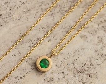 0.15 ct Round Emerald Pendant Necklace set in 14k Yellow Gold, Natural Emerald Pendant, 14K Yellow Gold Necklace, Zehava Jewelry