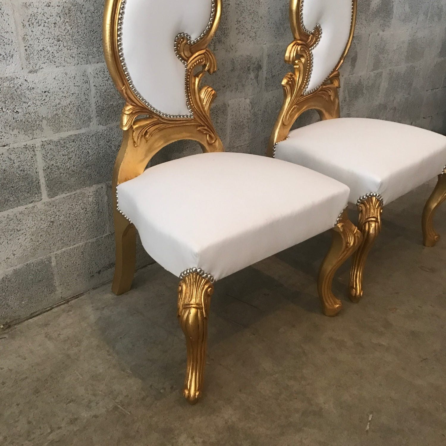 Italian baroque throne chair high back reproduction white for Baroque furniture reproductions