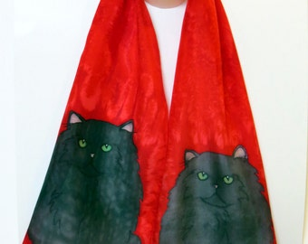 Cat Scarf Black Long Hair