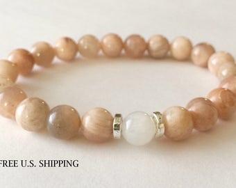 Sunstone Bracelet, Healing Bracelet, Yoga Bracelet, Gemstone Bracelet, Beaded Bracelet, Wrist Mala Beads, Meditation Jewelry