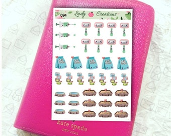 40% off - Discontinued - New Kitty Cat Planner Essentials Wash vaccinate feed brush and litter change -  Planner Sticker