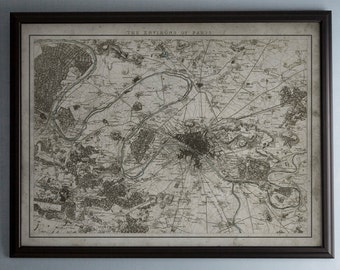 Paris Map: Vintage Map of Paris, France and Environs-  Circa 19th C. - Weathered Map