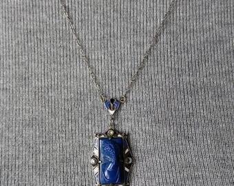 Damaged beauty, Antique, Art Deco, necklace, chain, pendant, cameo, blue stone, Lapis (?), marcasite, sterling, enamel