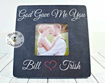 ON SALE First Dance Wedding Song Picture Frame, God Gave Me You, Wedding Gift, First Dance Lyric Frame, Anniversary Gift, Wedding  Song Lyri