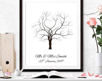 Wedding Fingerprint Tree, Guest Book & ink Set, Fingerprint tree, Alternative Guestbook. A4 or A3. Printed Wedding Guest Tree, Guest book