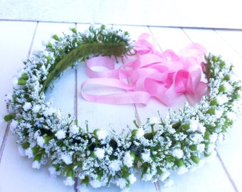 Baby's Breath Flower Crown, Boho Wedding, Adults, Toddlers, Tieback, Bridal, Floral Crown, Hair Wreath, Halo, Weddings, Flower Girl, White