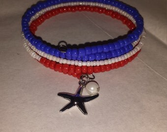 Independence Day/ fourth of July 5 coil beaded bracelet
