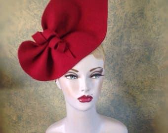 Claret Red sculptured felt 1940s inspired Hat Vintage style hat, Can be worn 2 ways